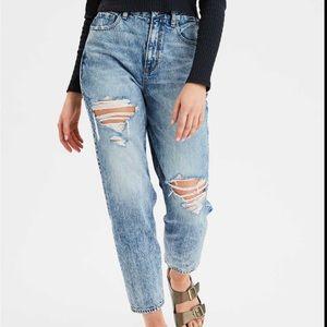 AEO Curvy Mom Jean Acid Wash Distressed Jeans